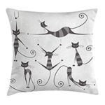 Cat throw pillow animal print