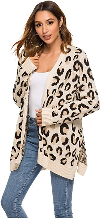 Cardigan Suéteres para las mujeres Open Front Leopard Print Fall Sweaters Knit Cardigan