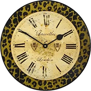 Roger Lascelles Clocks Modern Animal - Reloj de Pared, diseño de Leopardo